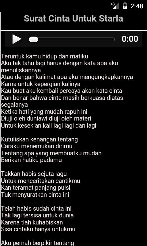 Lirik Surat Cinta Untuk Starla 10 Apk Download Android