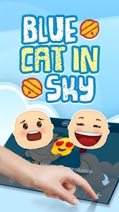 Blue Cat in Sky Theme&Emoji Keyboard 4.5 screenshot 3