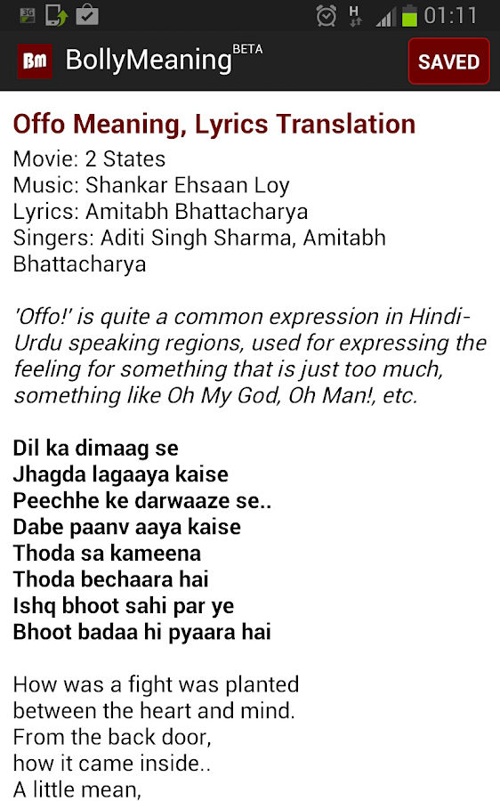 Bolly Meaning Hindi Lyrics 1 1 APK Download - Android Music & Audio Apps