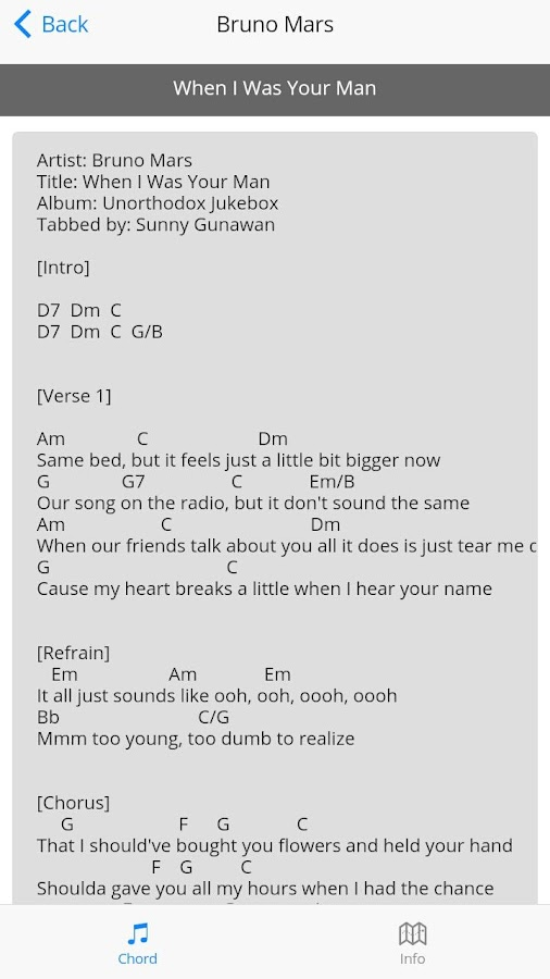 Bruno Mars Guitar Chords 1.0 APK Download - Android Entertainment Apps