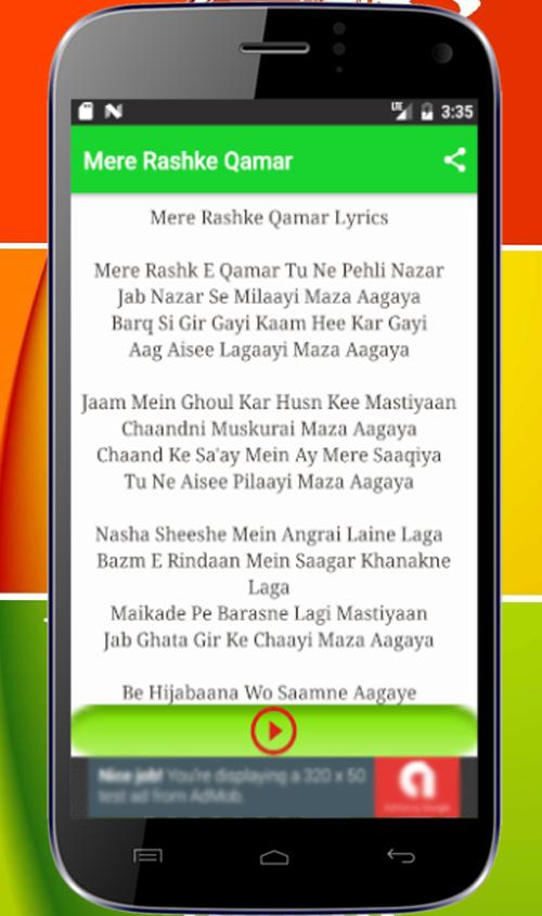 Mere Rashke Qamar Lyrics 1 0 Apk Download Android Music Audio Apps