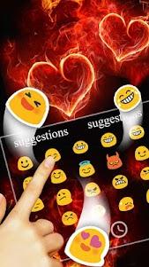Red Fire Heart Keyboard Theme 10001004 screenshot 6