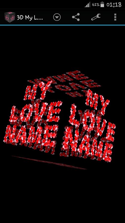 3D My Name Love Live Wallpaper 180 Screenshot 2