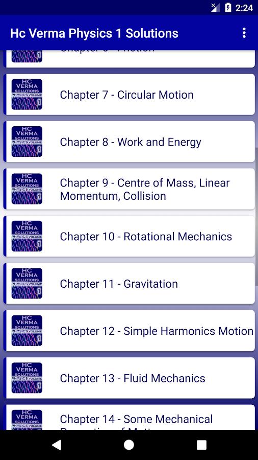 HC Verma - Concepts of Physics Part 1 Solutions 1 1 APK