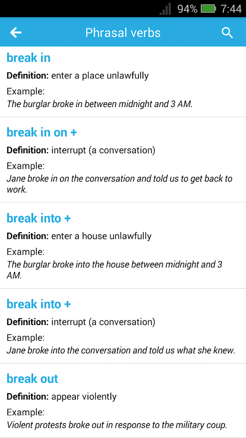Full English Idioms & Phrases With Examples 1 0 APK Download