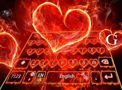 Red Fire Heart Keyboard Theme 10001004 screenshot 3